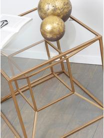 Tavolino da salotto dorato Cubo, Struttura: metallo rivestito, Dorato trasparente, Larg. 50 x Prof. 50 cm