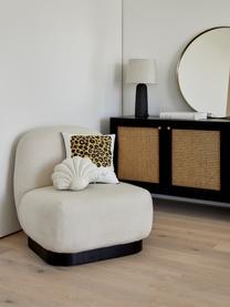 Loungefauteuil Elsie in crèmewit, Bekleding: polyester, Frame: multiplex, massief eucaly, Poten: gepoedercoat metaal, Geweven stof crèmewit, B 77 x D 84 cm