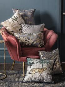 Samt-Kissen Palm mit glänzendem Print, mit Inlett, Bezug: 100% Baumwollsamt, Grau, 30 x 50 cm