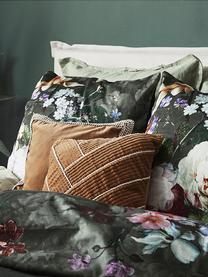 Baumwollsatin-Bettwäsche Fleur mit Blumen-Muster, Webart: Satin Fadendichte 209 TC,, Dunkelgrün, 135 x 200 cm + 1 Kissen 80 x 80 cm
