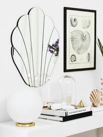 Kleine Tischlampe Beth aus Glas, Lampenschirm: Glas, Lampenfuß: Metall, vermessingt, Weiß, Messing, Ø 25 x H 26 cm