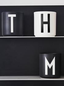 Design Becher Personal mit Buchstaben (Varianten von A bis Z), Fine Bone China (Porzellan) Fine Bone China ist ein Weichporzellan, das sich besonders durch seinen strahlenden, durchscheinenden Glanz auszeichnet., Schwarz matt, Weiß, Becher T
