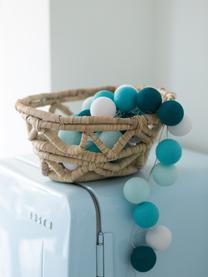 LED Lichterkette Colorain, Lampions: Polyester, Blautöne, Weiß, L 264 cm