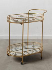 Carrello di servizio dorato Camaro, Metallo, lastra di vetro, Ottonato, Larg. 41 x Alt. 76 cm