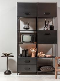 Standregal Legacy aus Metall mit Stauraum, Rahmen: Stahl, lackiert, Schwarz, 123 x 220 cm