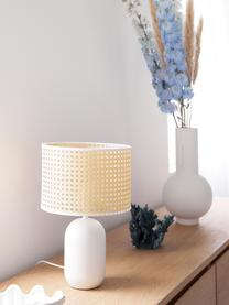 Lampe à poser en cannage Vienna, Abat-jour: beige, blanc Pied de lampe: blanc mat Câble: blanc