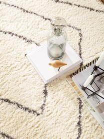 Hochflor-Teppich Benno mit Rautenmuster, 100% Polyester, Creme, Dunkelgrau, B 200 x L 290 cm (Größe L)