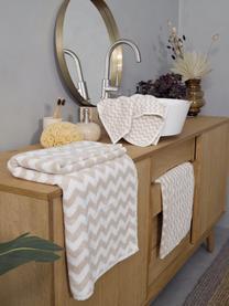 Handtuch Liv mit Zickzack-Muster, 100% Baumwolle, mittelschwere Qualität 550 g/m², Sandfarben, Gästehandtuch