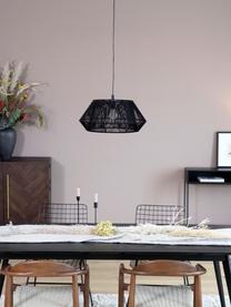 Hanglamp Hadi in koord optiek, Lampenkap: stof, Baldakijn: gepoedercoat metaal, Frame: gepoedercoat metaal, Zwart, Ø 48  x H 22 cm