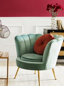 Fauteuil en velours turquoise Oyster, Velours turquoise
