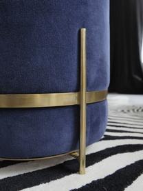 Pouf velours Haven, Bleu marine, couleur dorée