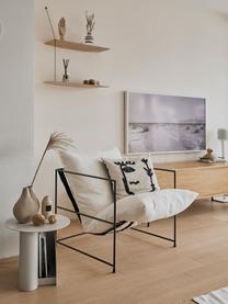 Fauteuil lounge blanc cadre en métal Wayne, Tissu blanc