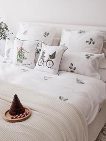 Flanell-Bettwäsche Fraser mit winterlichem Blattmuster, Webart: Flanell Flanell ist ein k, Salbeigrün, Weiß, 135 x 200 cm + 1 Kissen 80 x 80 cm