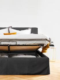 Polsterbett Feather mit Stauraum in Grau, Korpus: Massives Kiefernholz und , Bezug: Polyester (Strukturstoff), Webstoff Grau, 180 x 200 cm