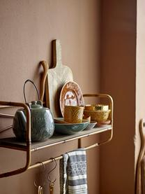 Handgemachte Teekanne Rani mit Craquelé Glasur und Teesieb, Kanne: Steingut, Griff: Metall, lackiert, Grün, 1 L