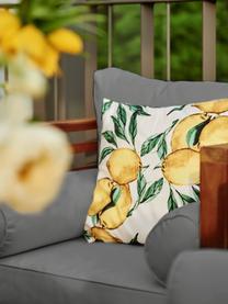 Federa arredo con motivo limoni Citrus, 100% cotone, Giallo, verde, bianco, Larg. 40 x Lung. 40 cm