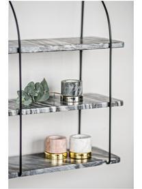 Libreria da parete in marmo Porter, Mensole: marmo, Montatura: nero Mensole: grigio marmorizzato, Larg. 40 x Alt. 58 cm