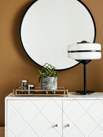 Deko-Tablett Traika in Gold mit schwarzer Ablagefläche, B 26 x L 50 cm, Rahmen: Metall, beschichtet, Ablagefläche: Glas, Messingfarben, Schwarz, 50 x 6 cm