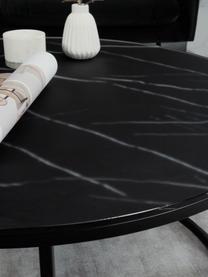 Salontafel Antigua met gemarmerde glazen tafelblad, Tafelblad: glas, mat bedrukt, Frame: gepoedercoat staal, Zwart-grijs gemarmerd, zwart, Ø 78 x H 44 cm