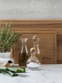 Set portaspezie in vetro soffiato con tappo in legno Eden 2 pz, Trasparente, legno di quercia, Ø 10 x Alt. 10 cm
