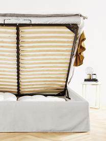 Gestoffeerd bed Feather met opbergruimte in beigegrijs, Frame: massief grenenhout en pla, Bekleding: polyester (gestructureerd, Geweven stof beigegrijs, 180 x 200 cm
