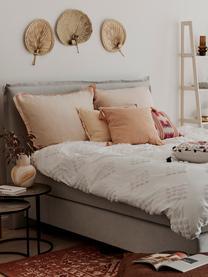 Baumwollperkal-Bettwäsche Fia mit getufteter Verzierung, Webart: Perkal Fadendichte 180 TC, Weiß, 200 x 200 cm + 2 Kissen 80 x 80 cm
