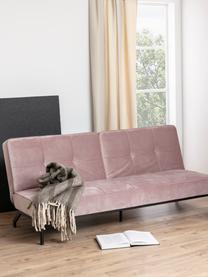 Sofa z funkcją spania z aksamitu z metalowymi nogami Perugia (2-osobowa), Tapicerka: aksamit poliestrowy Dzięk, Nogi: metal lakierowany, Aksamitny blady różowy, S 198 x G 95 cm