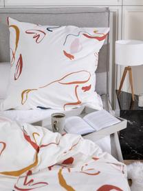Baumwollperkal-Bettwäsche Dazy mit abstraktem Print, Webart: Perkal Fadendichte 180 TC, Weiß, Mehrfarbig, 240 x 220 cm + 2 Kissen 80 x 80 cm