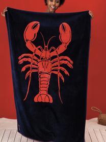 Ręcznik plażowy Lobster, Ciemnyniebieski, pomarańczowy, S 100 x D 180 cm