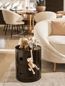 Design bijzettafel Componibile, 2 vakken, Gelakt kunststof (ABS), Glanzend zwart, Ø 32 x H 40 cm