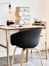Kunststoffen armstoel Claire met houten poten, Zitvlak: kunststof, Poten: beukenhout, Kunststof zwart, 60 x 54 cm