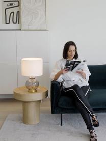 Lampada da tavolo con base in vetro Natty, Paralume: tessuto, Base della lampada: vetro, Bianco, blu grigio, trasparente, Ø 31 x Alt. 48 cm