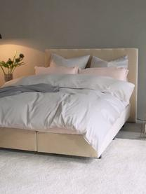 Premium boxspring bed Lacey in beige, Matras: 7-zones-pocketverenkern m, Poten: massief gelakt beukenhout, Geweven stof beige, 160 x 200 cm