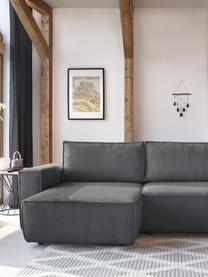 Modułowa sofa narożna ze sztruksu z funkcją spania i schowkiem Nihad, Tapicerka: sztruks poliestrowy, Nogi: tworzywo sztuczne, Ciemnyszary, S 282 x G 153 cm