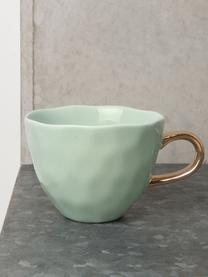 Tasse Good Morning in Mint mit goldenem Griff, Steingut, Mintgrün, Goldfarben, Ø 11 x H 8 cm