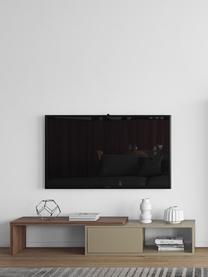 Mobile TV basso con anta scorrevole Lieke, Struttura e frontale: pannello di fibra a media, Credenza: pannelli di fibra a media, Grigio, albero di noce, Larg. 110 a 203 x Alt. 32 cm