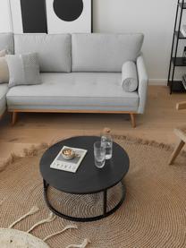 Set 2 tavolini da salotto in legno di mango Andrew, Struttura: metallo verniciato a polv, Ripiani: legno di mango, nero verniciato Struttura: nero opaco, Set in varie misure