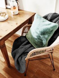 Kuscheldecke Mette aus Kunstfell in Dunkelgrau, Vorderseite: 100% Polyester, Rückseite: 100% Polyester, Dunkelgrau, 150 x 200 cm