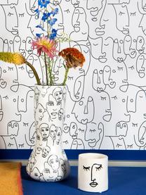 Kleiner Übertopf Face aus Steingut, Steingut, Gebrochenes Weiß, Schwarz, Ø 12 x H 13 cm