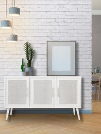 Credenza con ante Cayetana, Maniglie: metallo, Piedini: legno di bambù verniciato, Bianco, Larg. 120 x Alt. 71 cm