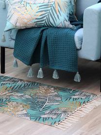Teppich Longbeach mit tropischem Print, 100% Baumwolle, Blautöne, Beige, B 60 x L 90 cm (Größe XXS)
