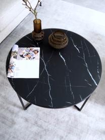 Table basse en verre marbré Antigua, Noir-gris marbré, noir