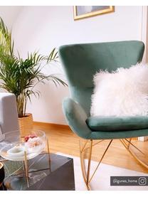 Sedia a dondolo in velluto verde salvia Wing, Rivestimento: velluto (poliestere) Con , Struttura: metallo zincato, Velluto verde salvia, Larg. 66 x Prof. 102 cm