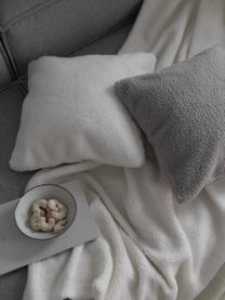 Flauschige Teddy-Kissenhülle Mille in Creme, Vorderseite: 100% Polyester (Teddyfell, Rückseite: 100% Polyester (Teddyfell, Creme, 45 x 45 cm