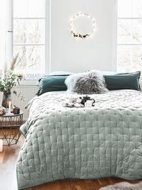 Wattierte Samt-Tagesdecke Cheryl mit dekorativer Steppung, Vorderseite: 100% Baumwollsamt, Rückseite: 100% Baumwolle, Salbeigrün, B 240 x L 250 cm (für Betten ab 160 x 200)