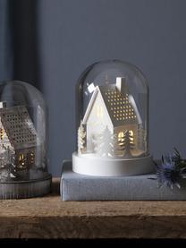 LED Leuchtobjekt House H 18 cm, batteriebetrieben, Mitteldichte Holzfaserplatte, Kunststoff, Glas, Weiß, Transparent, Ø 13 x H 18 cm