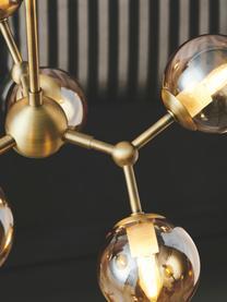 Design Pendelleuchte Atom aus Glas, Lampenschirm: Glas, Baldachin: Kunststoff, Messingfarben, Bernsteinfarben, Ø 45 x H 18 cm
