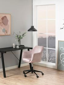 Fluwelen bureaustoel Nora, in hoogte verstelbaar, Bekleding: polyester (fluweel), Frame: gepoedercoat metaal, Roze, zwart, B 58 x D 58 cm