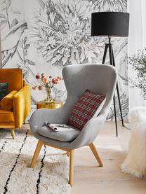 Ohrensessel Wing in Grau mit Holz-Füßen, Bezug: Polyester Der hochwertige, Füße: Massivholz mit Eschenfurn, Grau, B 77 x T 89 cm
