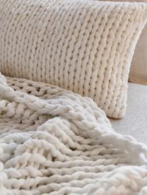 Federa arredo a maglia grossa fatta a mano Adyna, 100% poliacrilico, Bianco crema, Larg. 30 x Lung. 50 cm